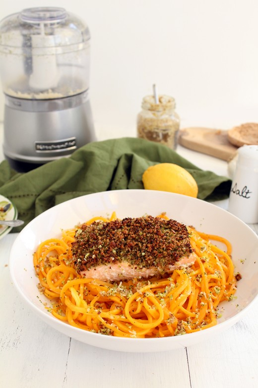 BROCCOLI BREADCRUMB BAKED SALMON WITH BUTTERNUT SQUASH NOODLES -  This is the recipe that won me over. Chopped-broccoli breadcrumbs coat a filet of salmon, which is placed on top of a delicate butternut squash noodles. This one is a winner. KitchenAide