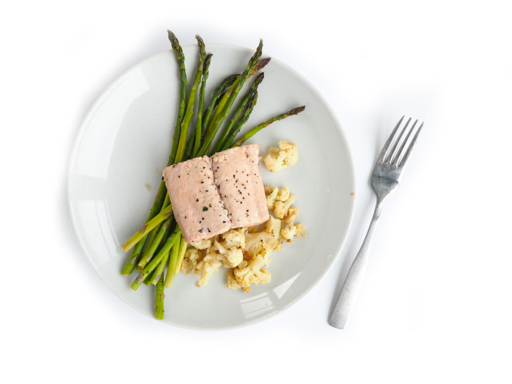 Poached Salmon with Roasted Asparagus Cauliflower_9