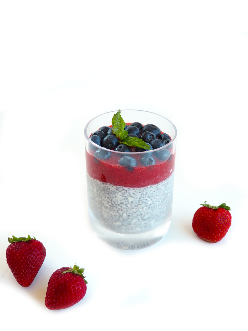 Chia Seed Pudding with Strawberry Mint Puree Blueberries_2
