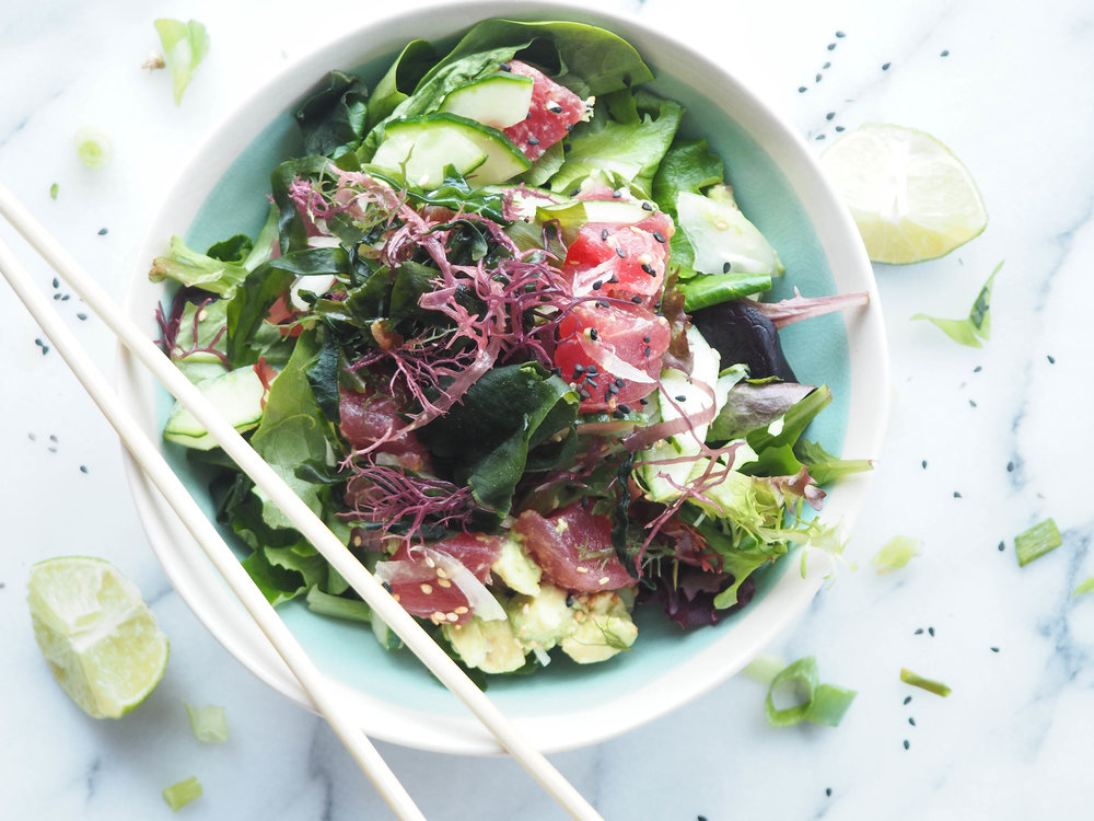 Tuna Poke Bowl with Coconut-Sesame Sauce (Gluten + Soy Free)