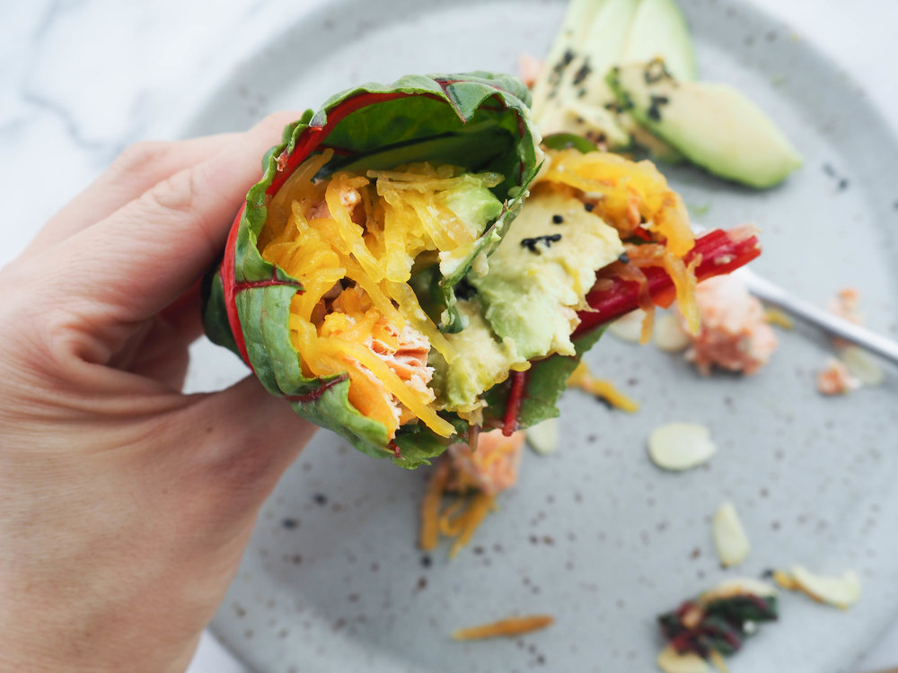 Wrap n' Roll: Avocado-Salmon Rainbow Chard Warp