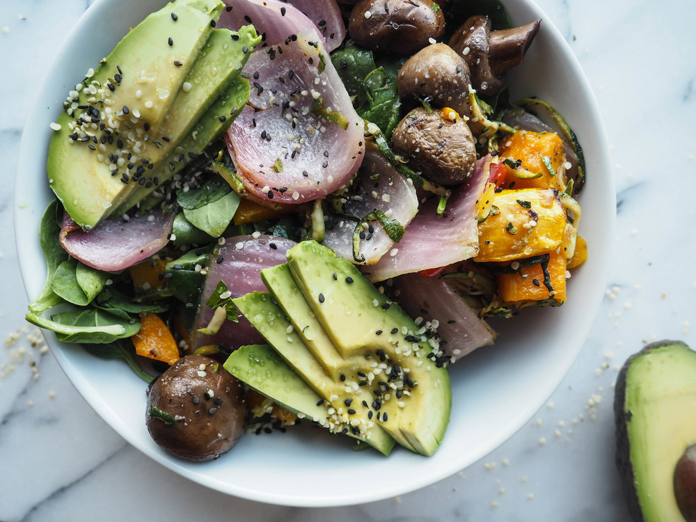 roasted veggie salad bowl