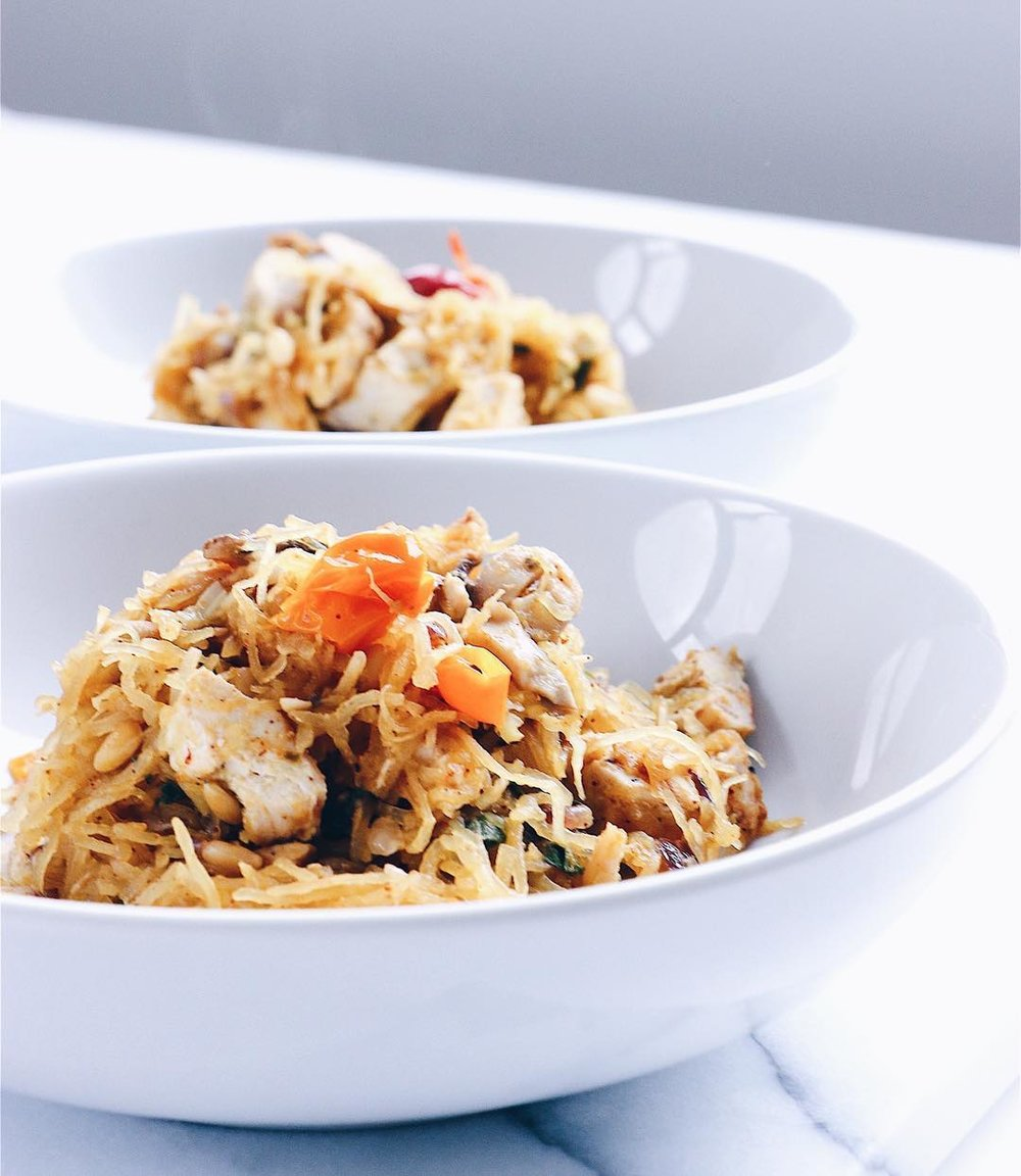 Spaghetti Squash with Grilled Chicken Cacciatore