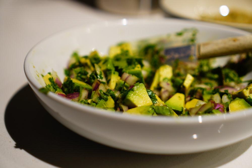 Salmon with Cilantro Cauli-Rice & Avocado Salsa