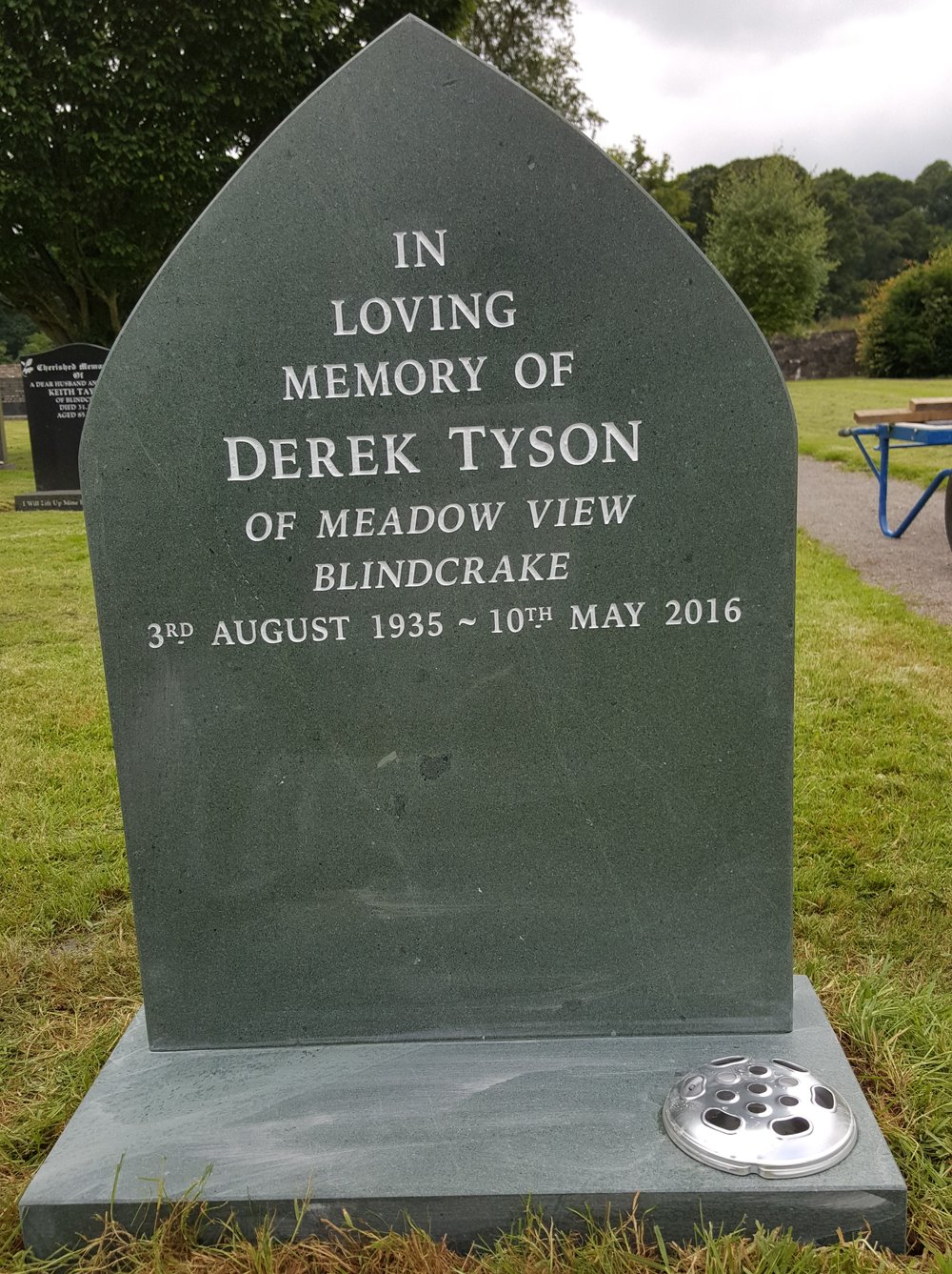 Gothic shaped slate memorial
