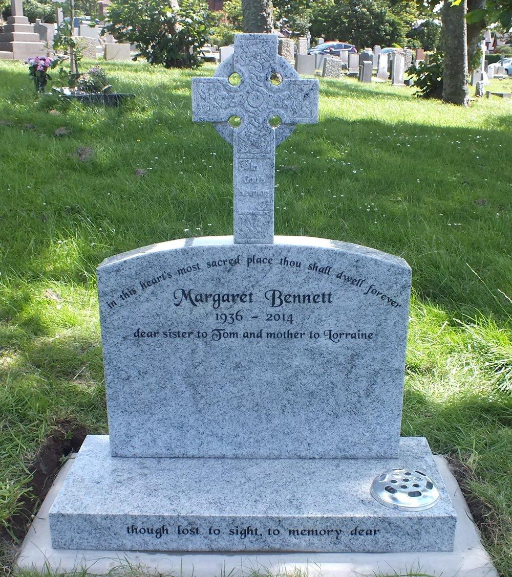Light grey granite die and celtic design cross