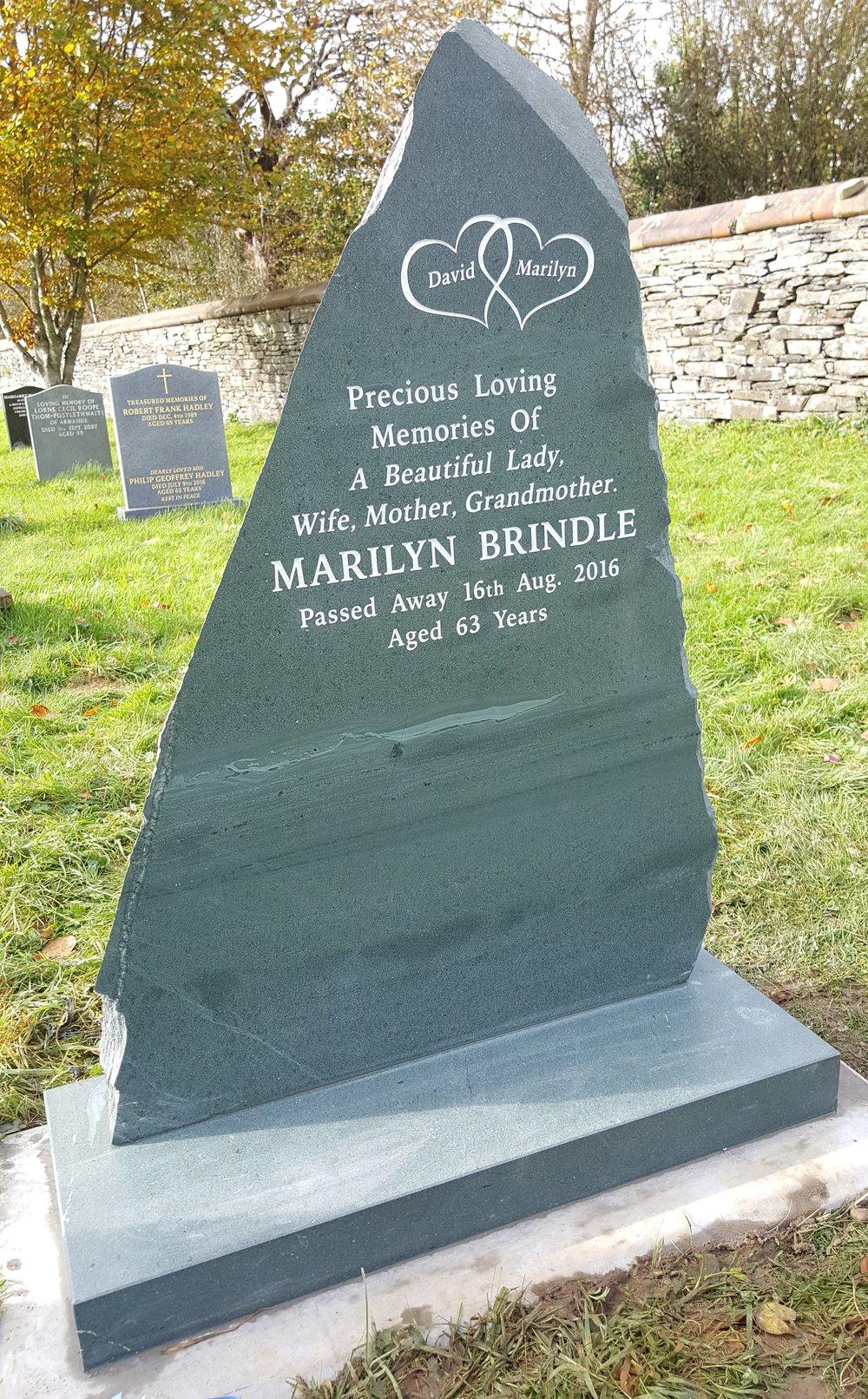 Natural edge slate headstone