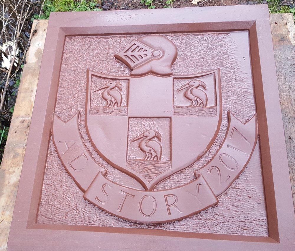 Hand-carved sandstone tablet