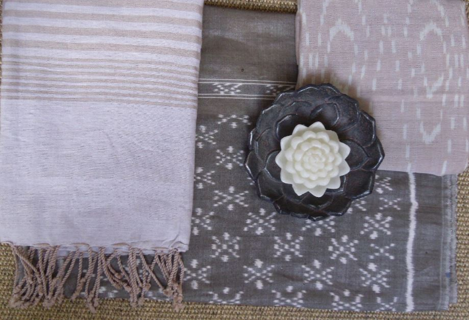 Scheme with Vintage textiles in blushing pink and chocolate colors.