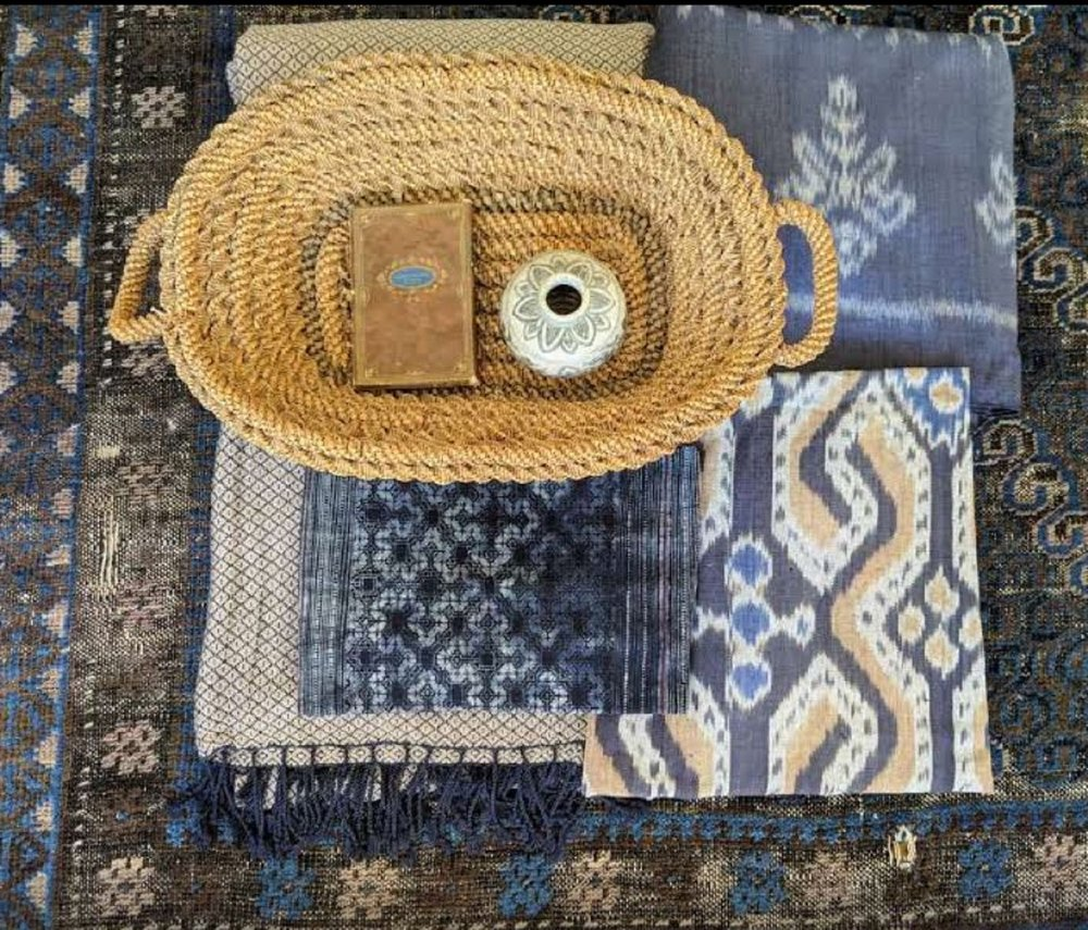 Scheme with Vintage textiles in Blues and Pinks.