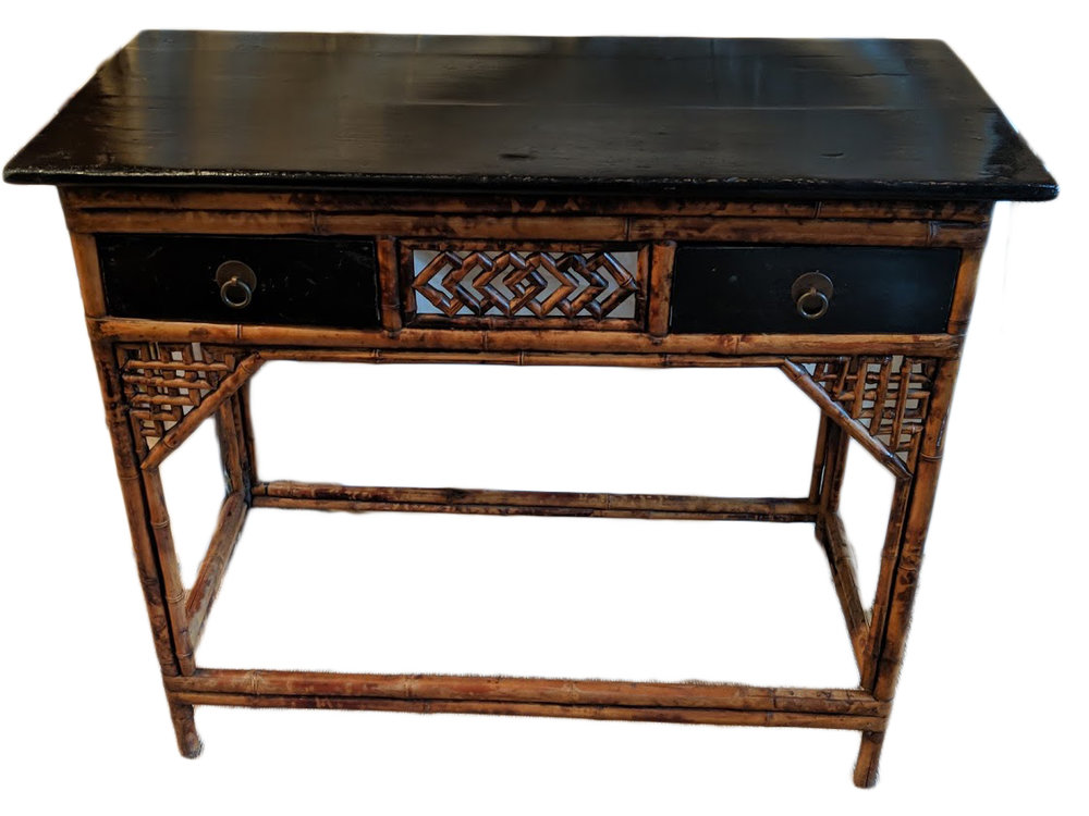 antique-asian-bamboo-.console-with-lacquer-top-and-drawersjpg