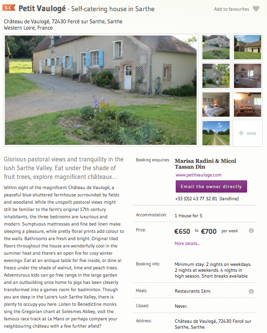 One of many European property descriptions written for Sawdays.