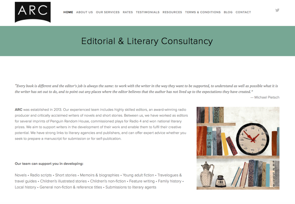 The homepage of the website I created for ARC, an editorial consultancy based in Bristol, which I managed for a couple of years.
