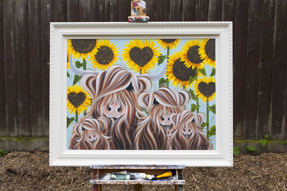 """Sunflowers are one of my favourite flowers. They are so bright, cheerful and colourful its impossible not to smile when you see them. My garden is my 'happy place' and my fave way to spend an afternoon with the chickens and dogs milling around and children playing."""