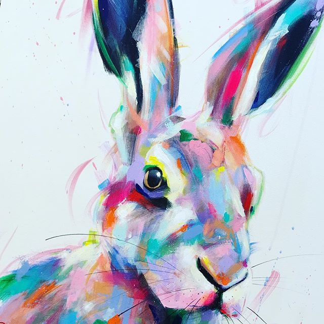 Hare close up, I ❤️ their big ears 😃 xx . . . . . . #hare #harepainting #harepaintings #hareart #wildlifepainting #wildlifepaintings #multicolour #multicoloured #colourful #colorful #colorfulart #colorfulartwork #colorfullife #multicolor #multicolored #happyart #colorfuljewelry #colorfulpainting #colorfulpaintings