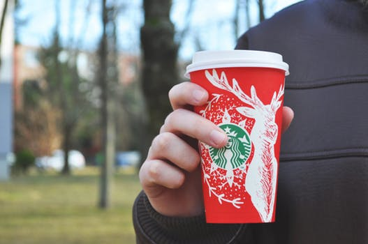 Loving the new Starbucks holiday design! #feelslikeChristmas #yesplease #jolly #caffeinated #Home4theHolidays #Starbucks #ad  {celebrity post example noting ad or sponsorship}
