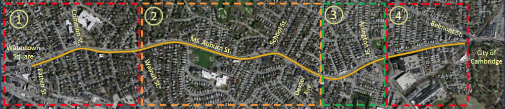 The Mount Auburn Street corridor, broken into four segments: (1) Patten Street to Walnut Street, (2) Walnut Street to Dexter Avenue, (3) Dexter Avenue to Arlington Street (Coolidge Square), (4) Prentiss Street to Cambridge city line.