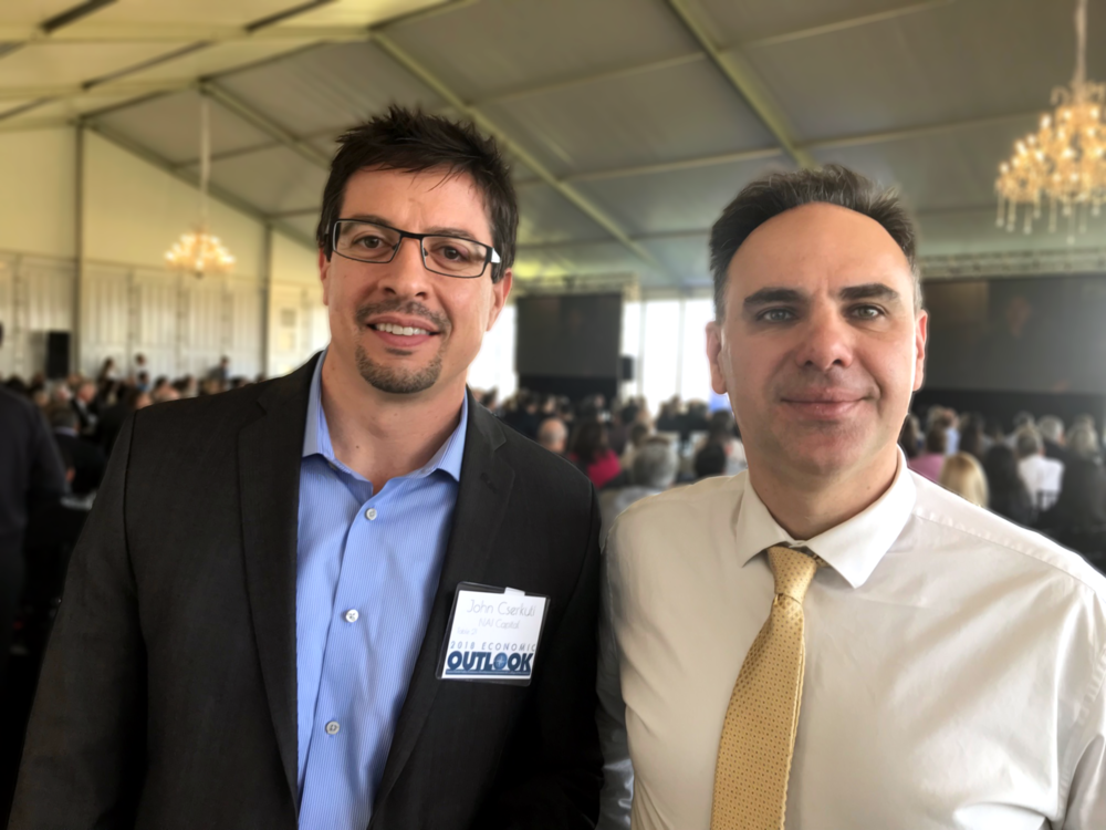 Executive Vice President John Cserkuti (left) and Vice President Steve Body (right) at the 2018 SCV Economic Outlook.
