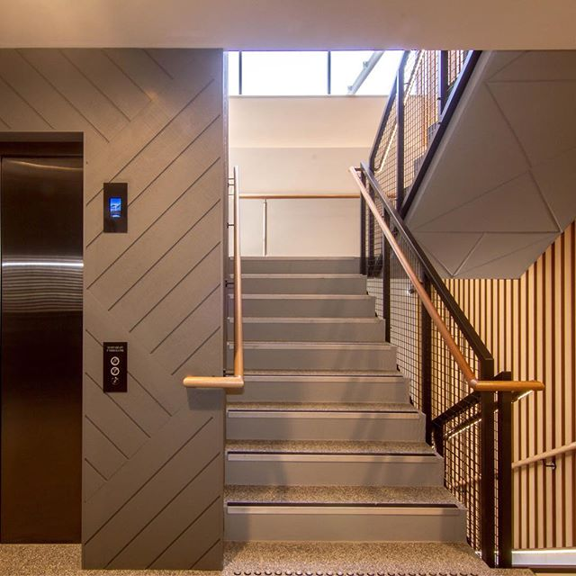 || Our Southgate redevelopment project is now complete. The lift shaft is a stunning entry feature using Shadow Clad laid on an angle, painted in @duluxaus 'Klute'. We included LED strip lighting by @siilight Light placed through the cladding. The terrazzo tiles by @attica.stone.tile compliment all the other finishes and will provide a long-lasting, hard-wearing floor finish for this commercial development. Builder:  @smf_projects 📸 @kaved ||