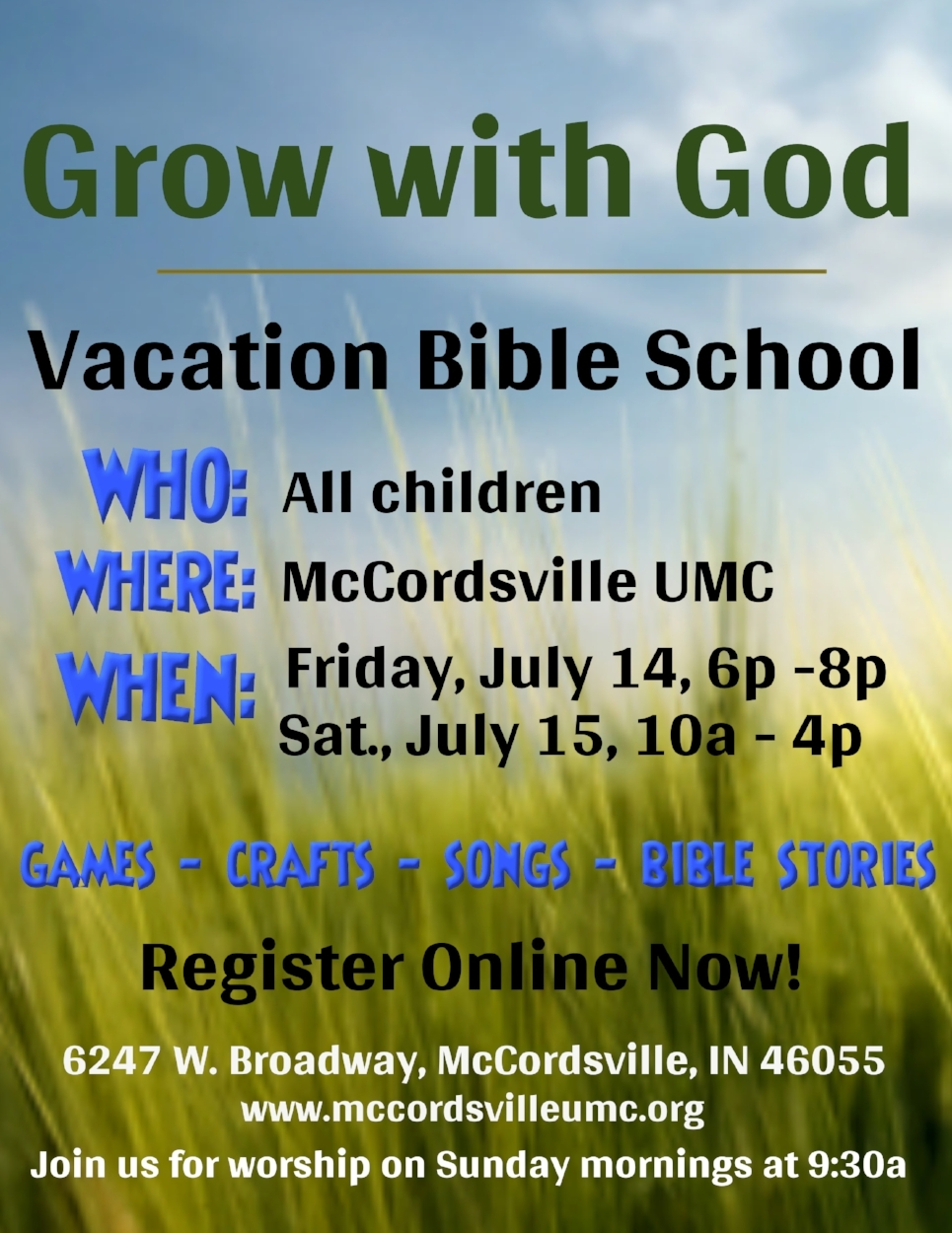 Vacation Bible School is here! - Don't forget to register your kids for our 2017 Vacation Bible School, Grow With God!!