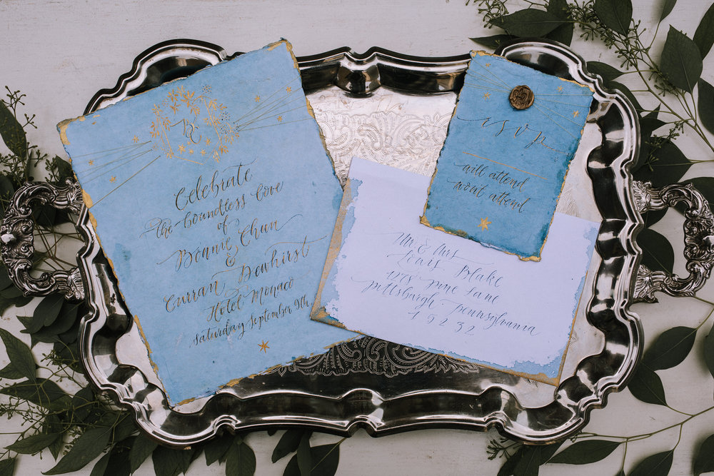 Romeo and Juliet Wedding Theme Invitations and Calligraphy