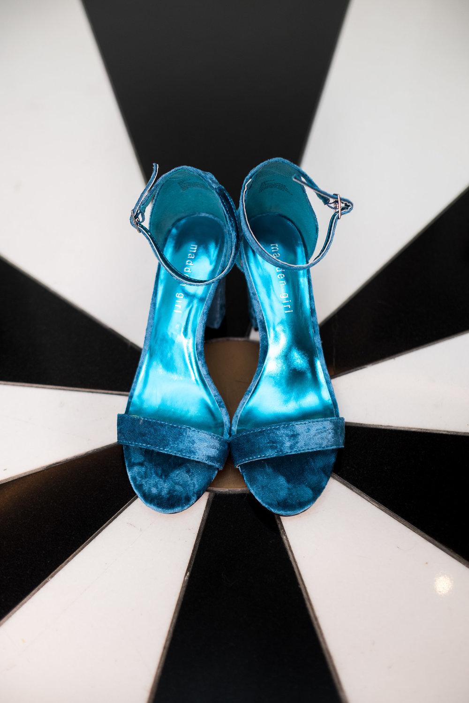 Bride's fun blue wedding shoes