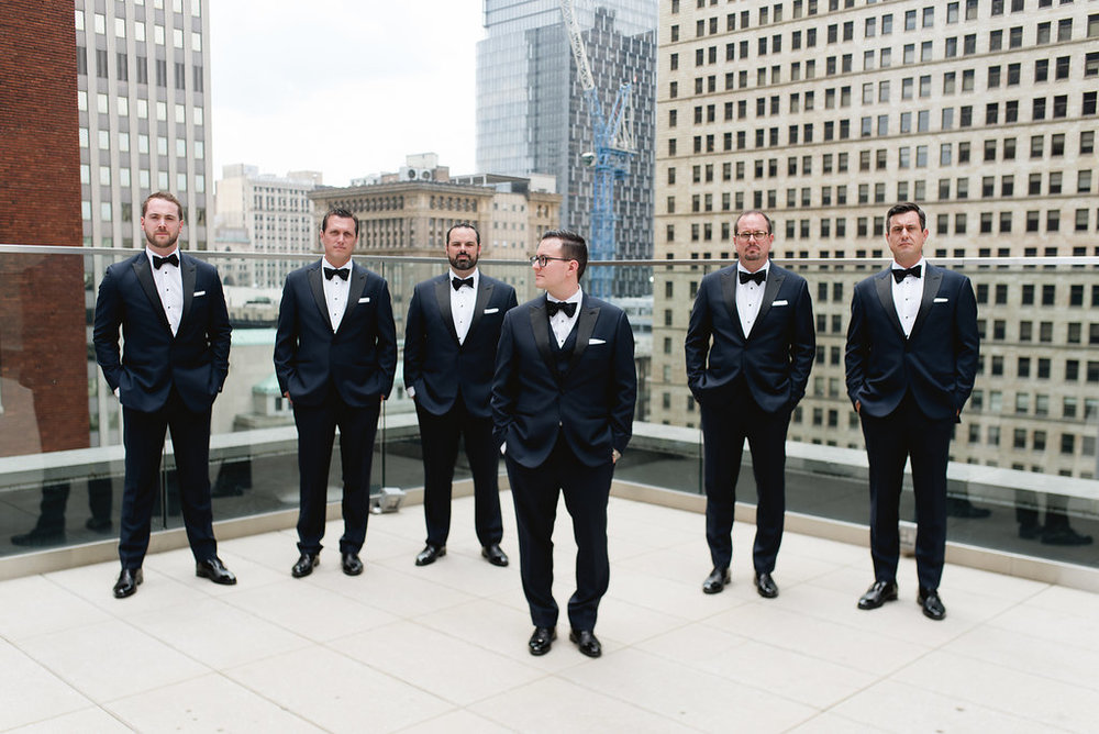 Groom and groomsmen on the rooftop Kimpton Hotel Monaco Pittsburgh Wedding
