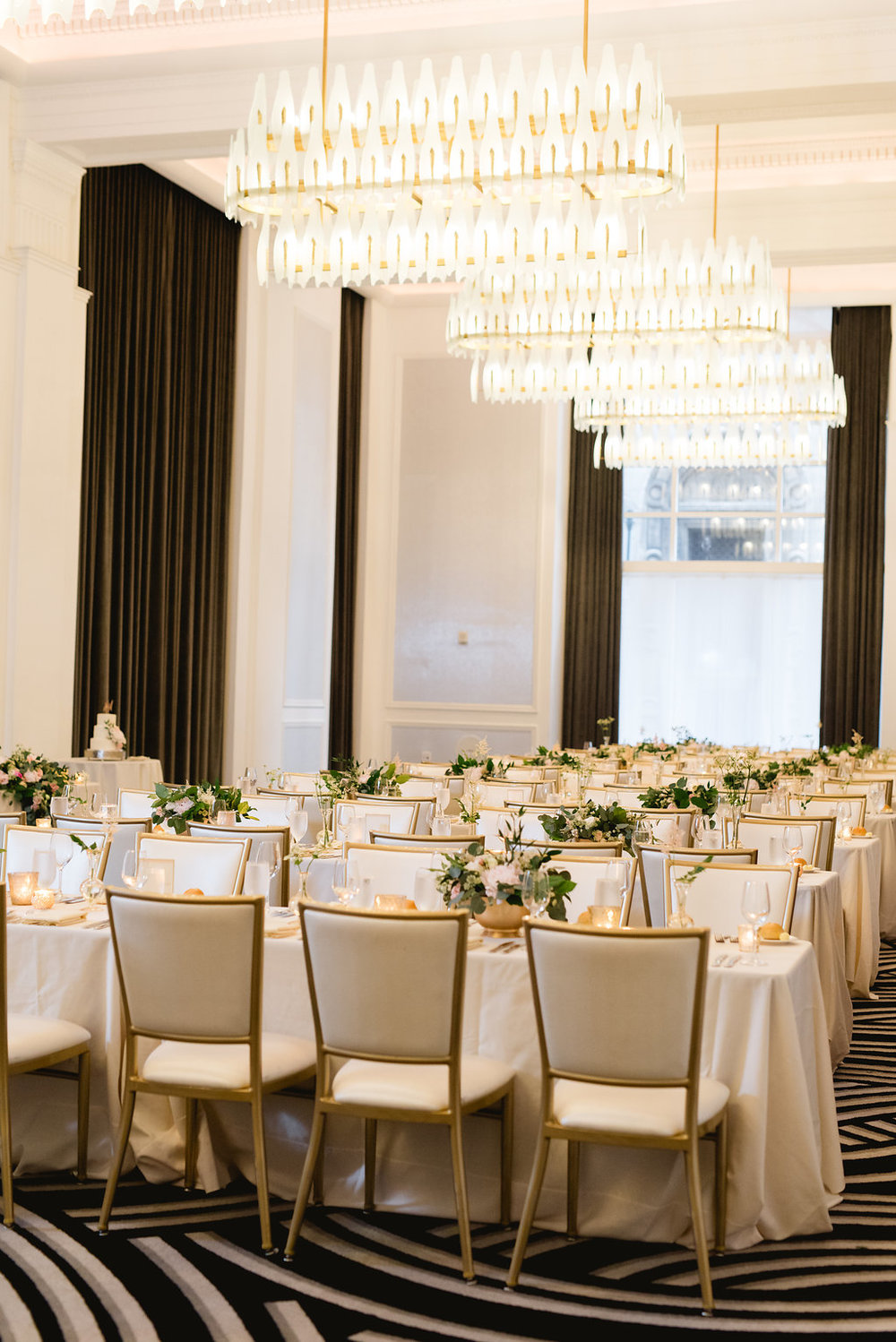 Classic wedding reception decor for Pittsburgh wedding at Hotel Monaco