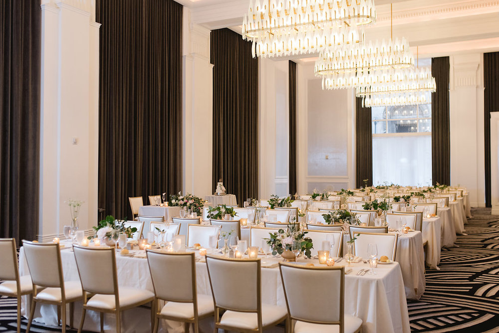 Wedding reception decor for Pittsburgh wedding at Hotel Monaco