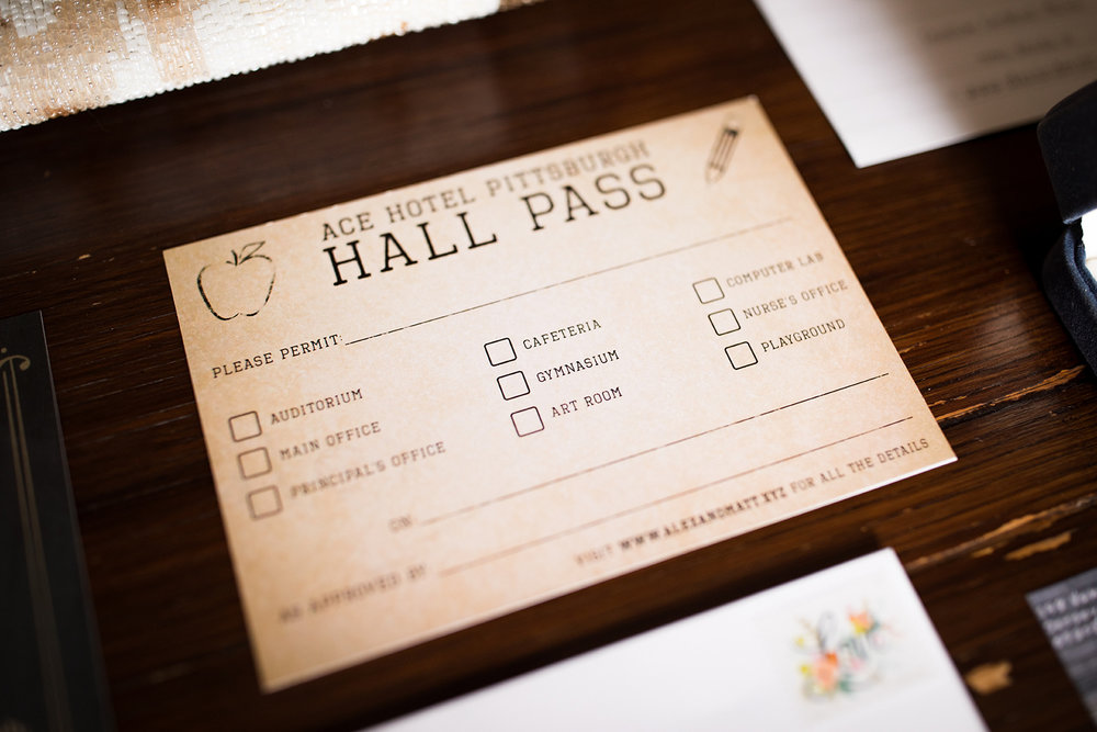 Invitation suite for this vintage school-themed Pittsburgh Wedding at Ace Hotel. See more details at exhale-events.com!