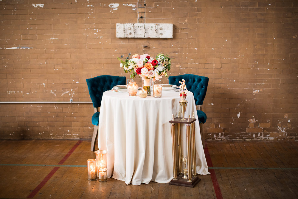 Sweetheart wedding table decor for school-themed vintage wedding in Pittsburgh at Ace Hotel. See more fun details at exhale-events.com!