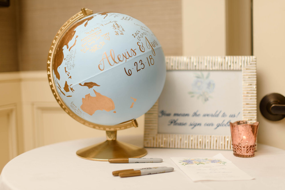 Globe used as a wedding guest book for elegant Greek wedding held in Pittsburgh at Oakmont Country Club. See more beautiful details at exhale-events.com!