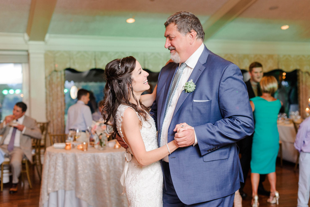 Father daughter dance at elegant Greek wedding held in Pittsburgh at Oakmont Country Club. See more beautiful details at exhale-events.com!
