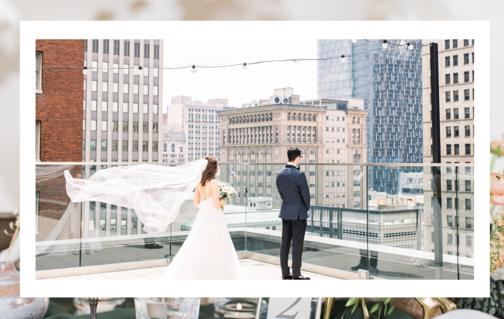 Bride and groom have a first look for their Pittsburgh wedding planned by Exhale Events. Find more wedding inspiration at exhale-events.com!
