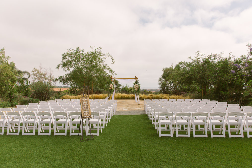 Wedding ceremony location for San Diego, California outdoor wedding planned by Exhale Events. See all the beautiful details at exhale-events.com!