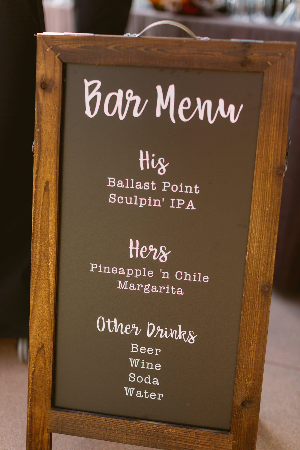Personalized bar menu for San Diego, California outdoor wedding planned by Exhale Events. See all the beautiful details at exhale-events.com!