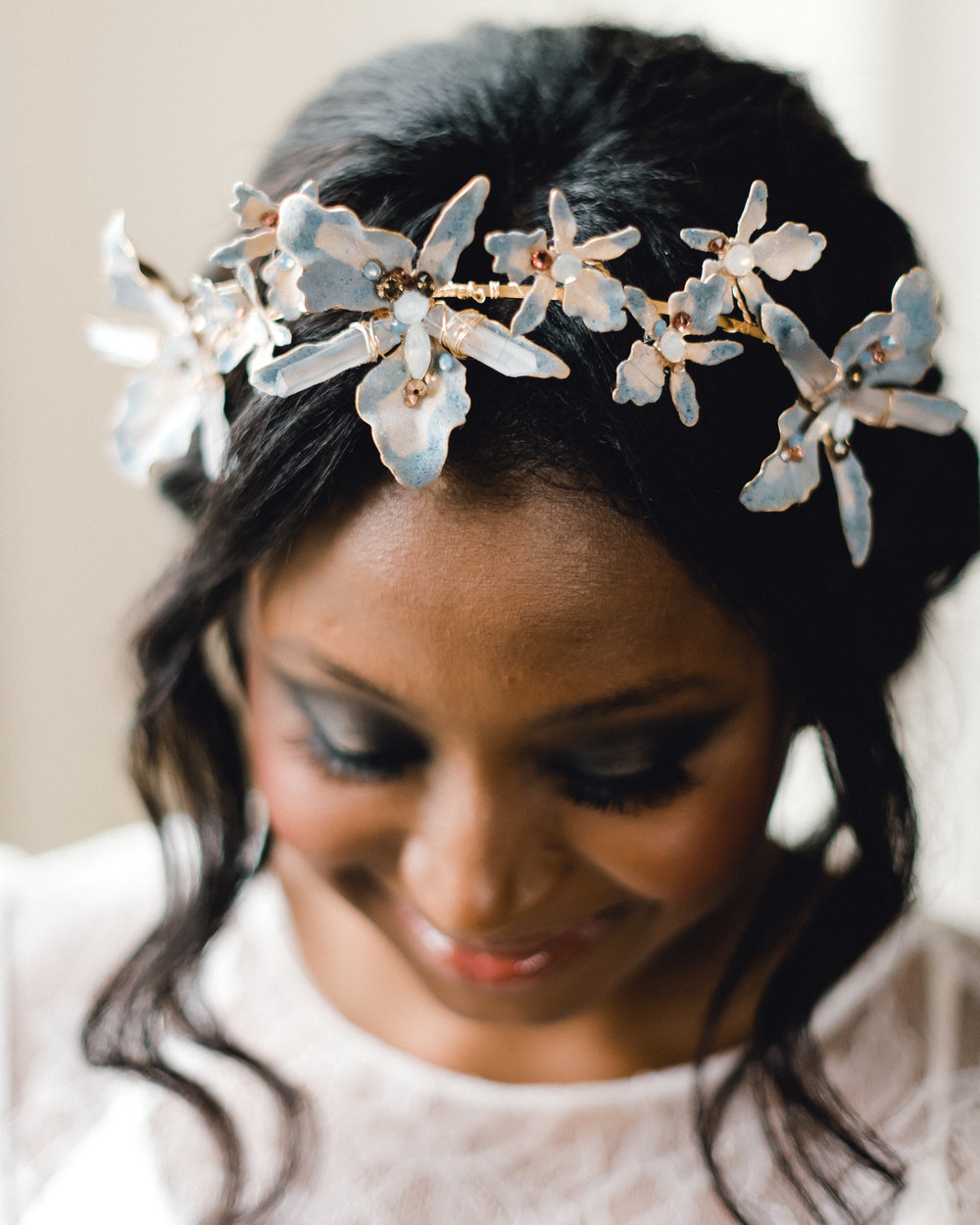 Wedding hair updo with hair accessory for Pablo Neruda enchanting garden styled shoot planned by Exhale Events. Get inspired at exhale-events.com!