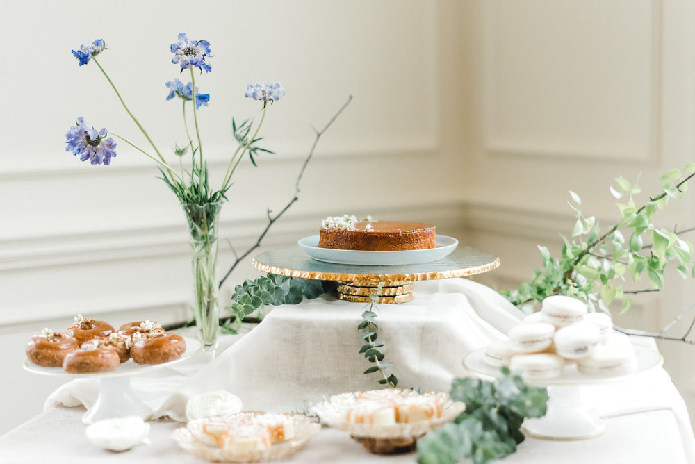 Charming wedding cake and dessert table for Pablo Neruda enchanting garden styled shoot planned by Exhale Events. Get inspired at exhale-events.com!