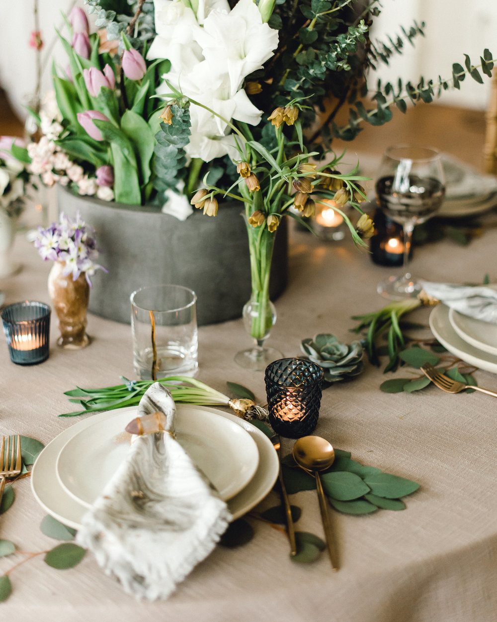 Wedding table setting and table decor for Pablo Neruda enchanting garden styled shoot planned by Exhale Events. Get inspired at exhale-events.com!