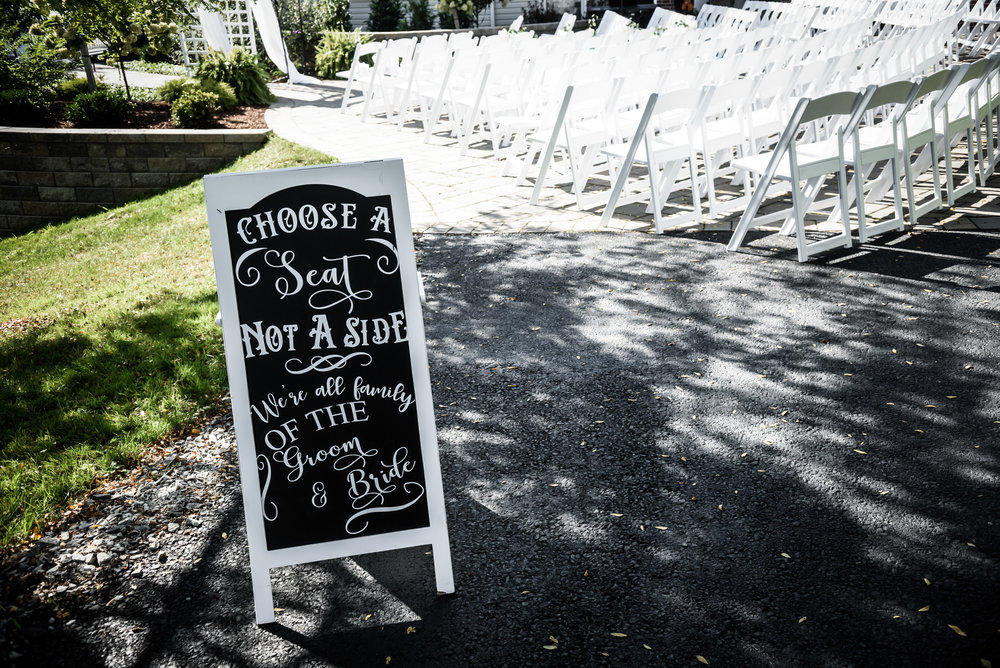 Wedding sign at wedding ceremony for Pittsburgh wedding planned by Exhale Events. Find more wedding inspiration at exhale-events.com!