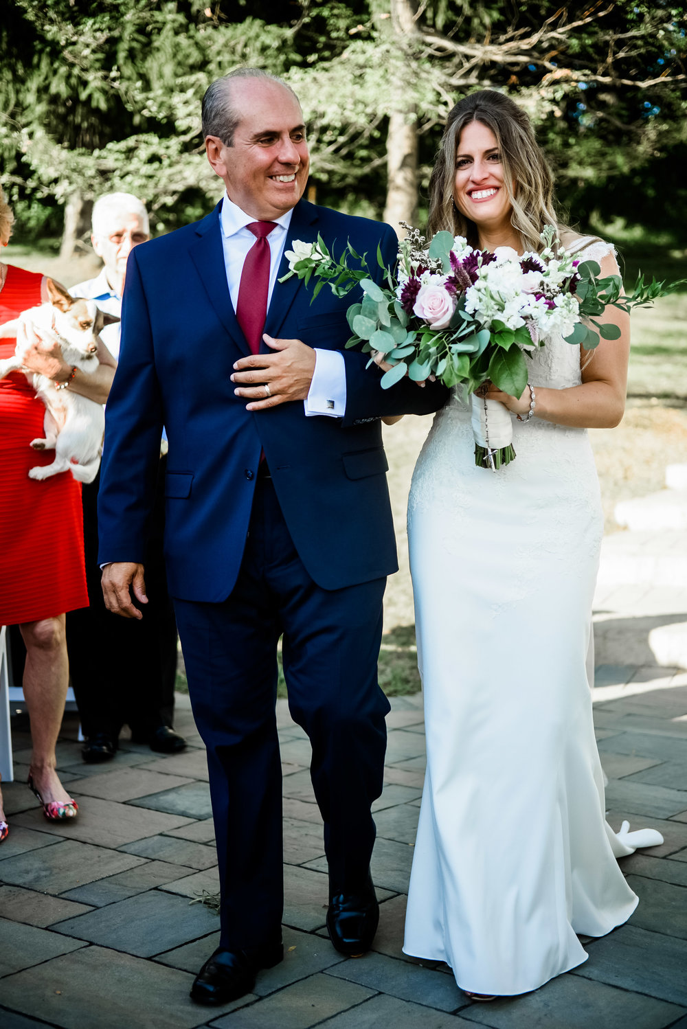 Bride's father escorts bride down the aisle at wedding ceremony for Pittsburgh wedding planned by Exhale Events. Find more wedding inspiration at exhale-events.com!