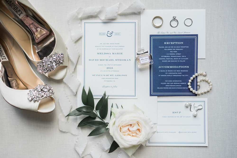 Wedding stationery and invitation details for Pittsburgh wedding at PNC Park planned by Exhale Events. Find more wedding inspiration at exhale-events.com!