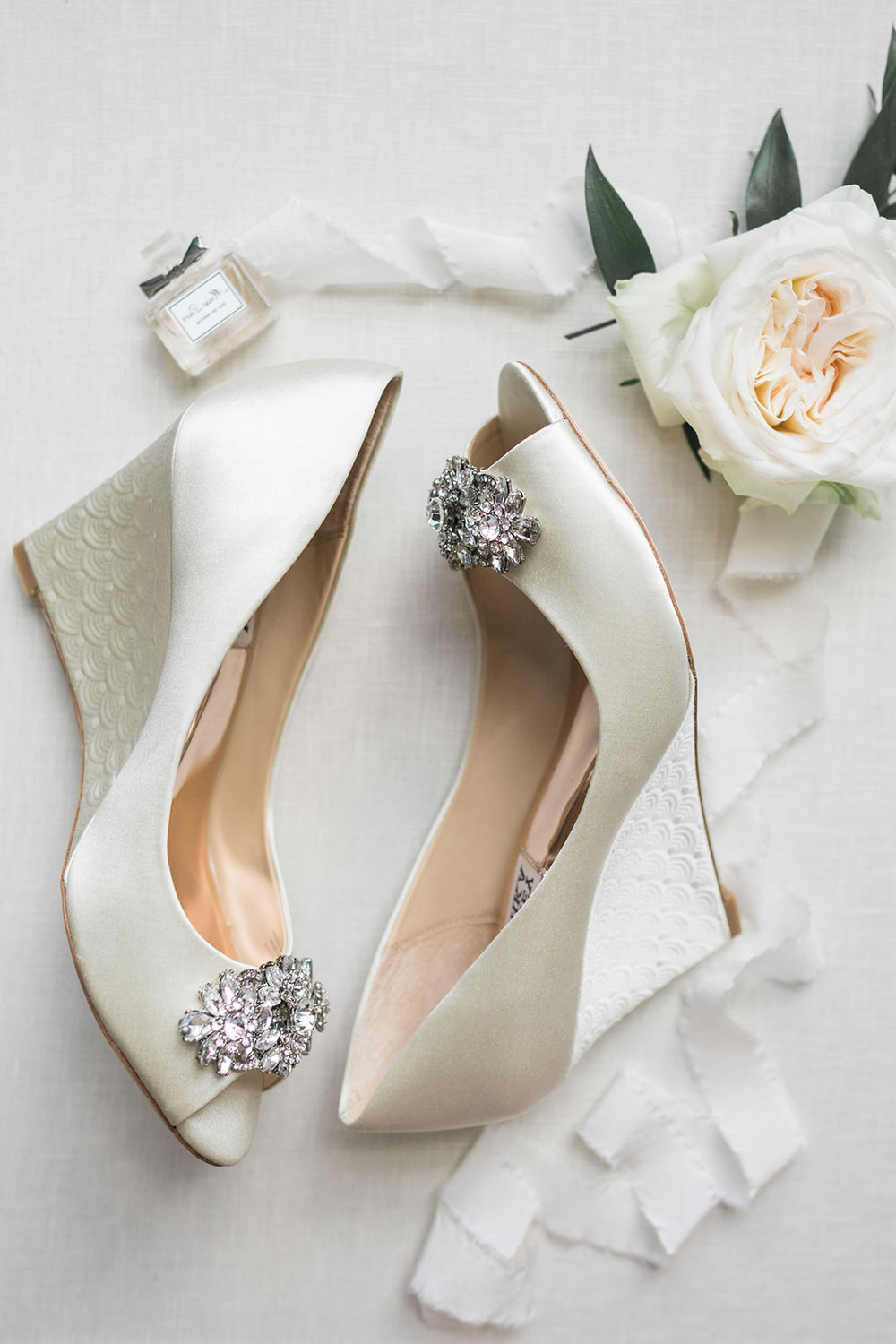 Bride's Badgley Mischka wedding shoes for Pittsburgh wedding at PNC Park planned by Exhale Events. Find more wedding inspiration at exhale-events.com!