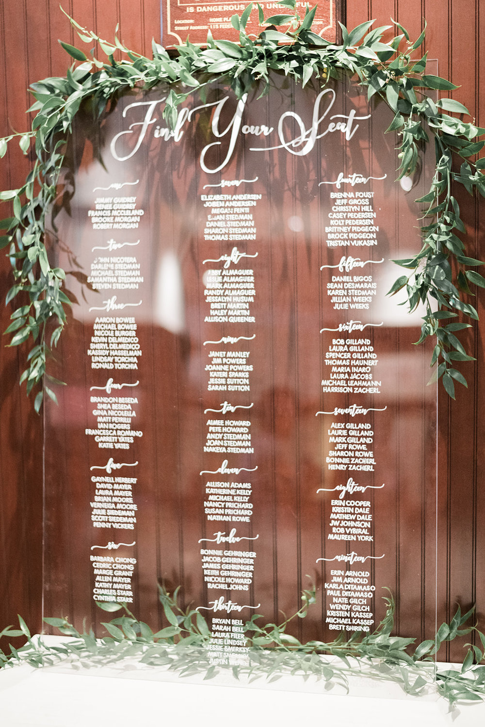 Table seating arrangements displayed on acrylic wedding sign at wedding reception for Pittsburgh wedding at PNC Park planned by Exhale Events. Find more wedding inspiration at exhale-events.com!