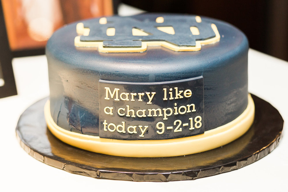 Notre Dame grooms cake at wedding reception for Pittsburgh wedding at PNC Park planned by Exhale Events. Find more wedding inspiration at exhale-events.com!