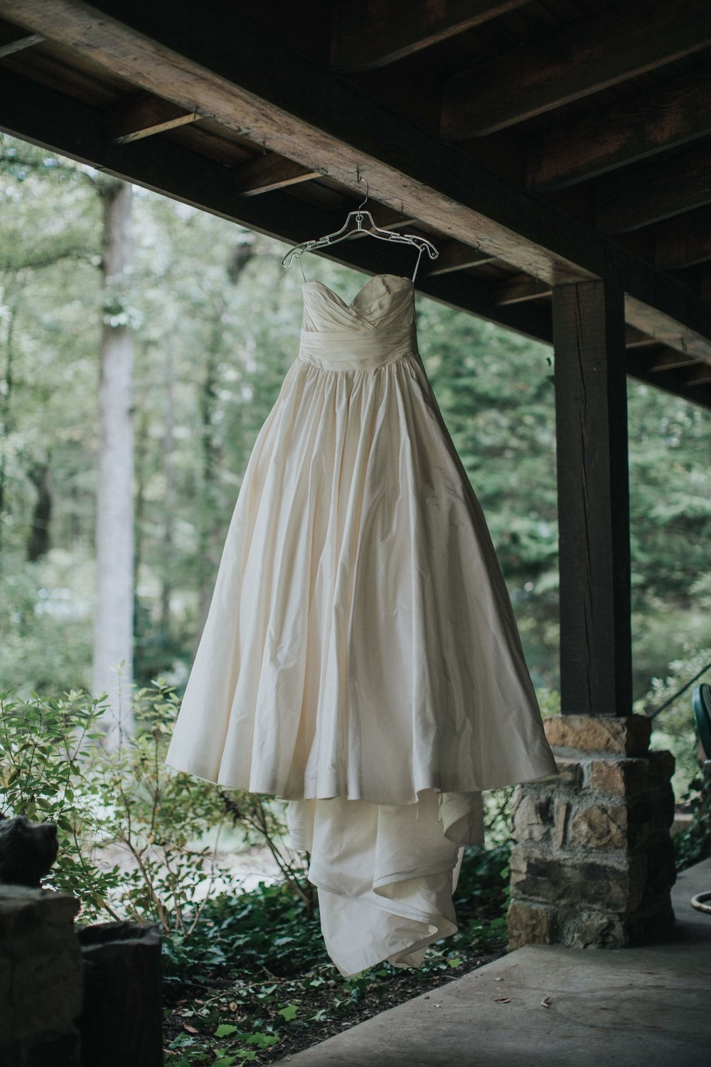 Bride's wedding dress for rustic wedding in Farmington, PA planned by Exhale Events. Find more wedding inspiration at exhale-events.com!