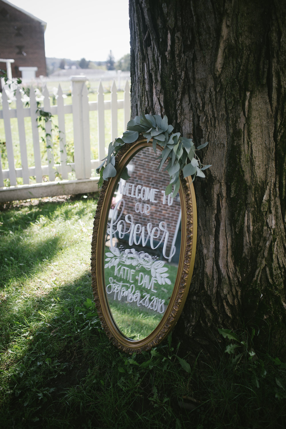 Mirror wedding sign for wedding ceremony decor at rustic wedding in Pittsburgh, PA planned by Exhale Events. Find more wedding inspiration at exhale-events.com!