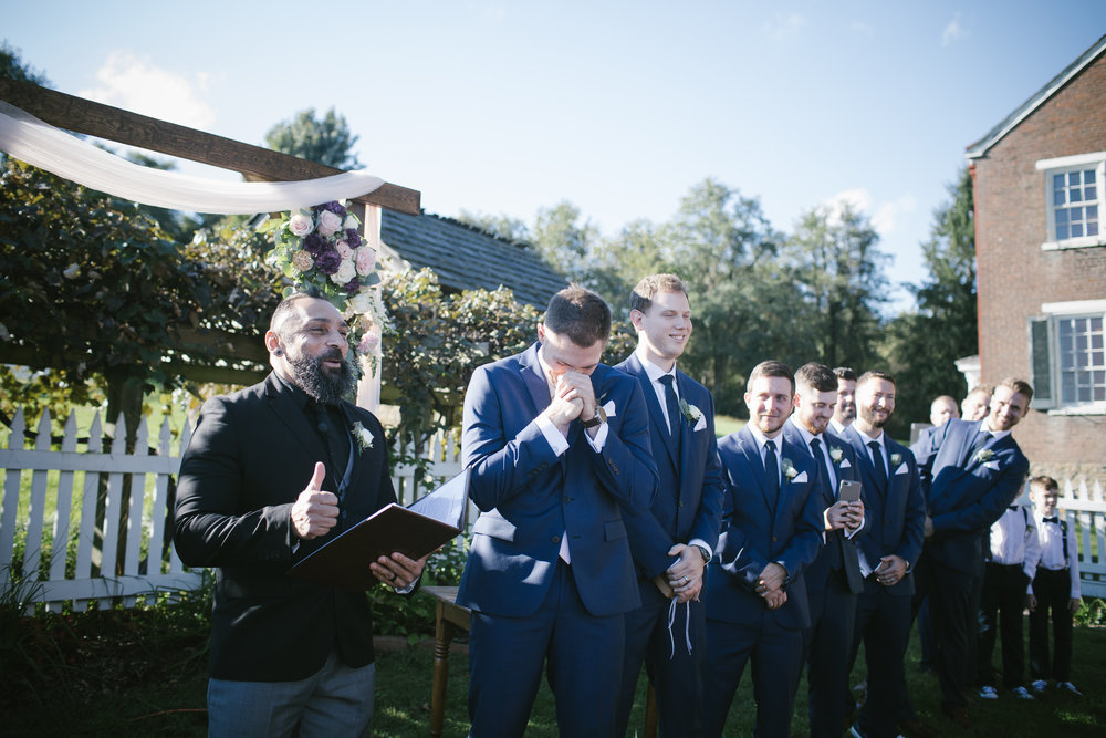 Groom's reaction to bride walking down the aisle at wedding ceremony for rustic wedding in Pittsburgh, PA planned by Exhale Events. Find more wedding inspiration at exhale-events.com!