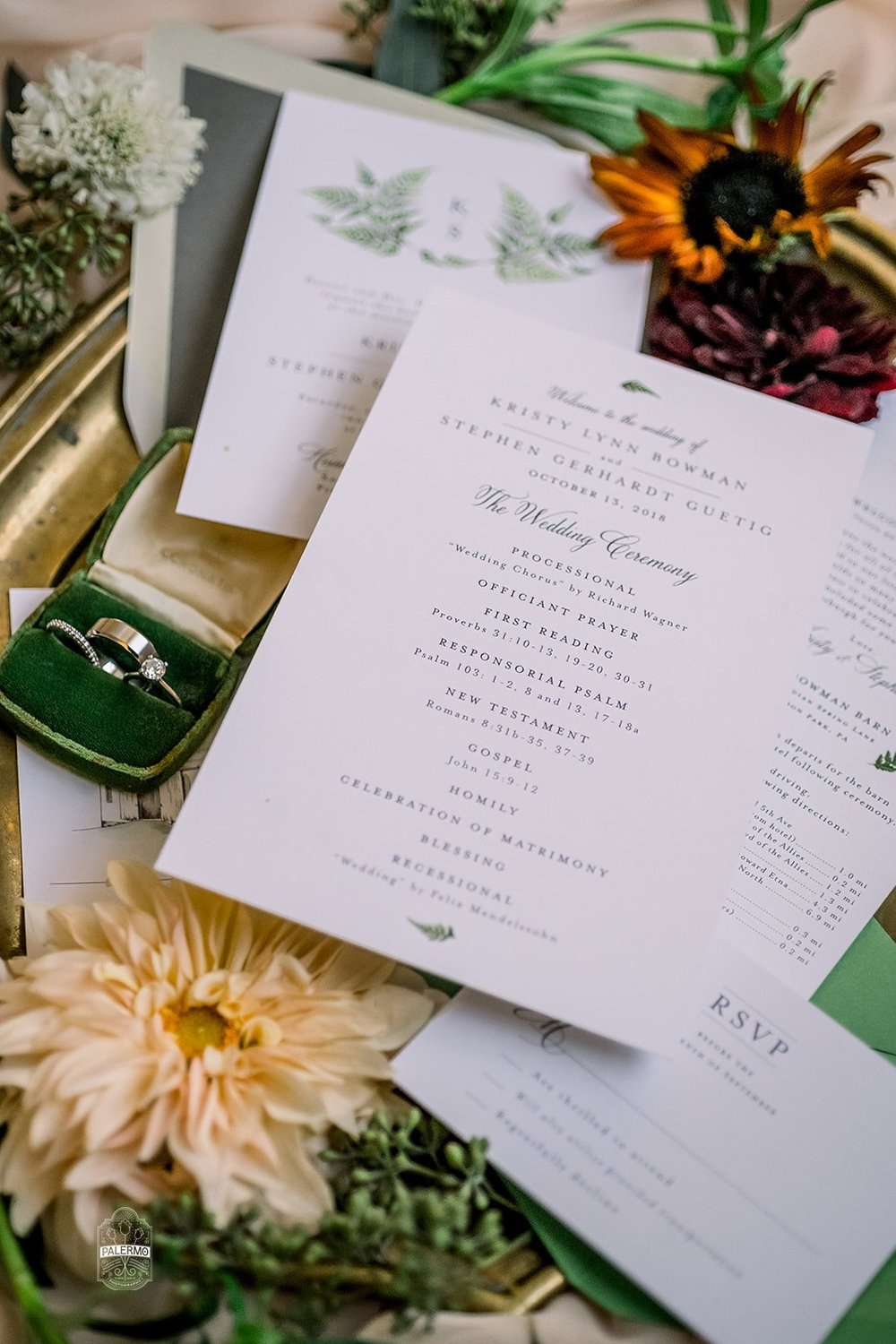 Wedding invitations and stationery for fall barn wedding in Pittsburgh, PA planned by Exhale Events. Find more wedding inspiration at exhale-events.com!