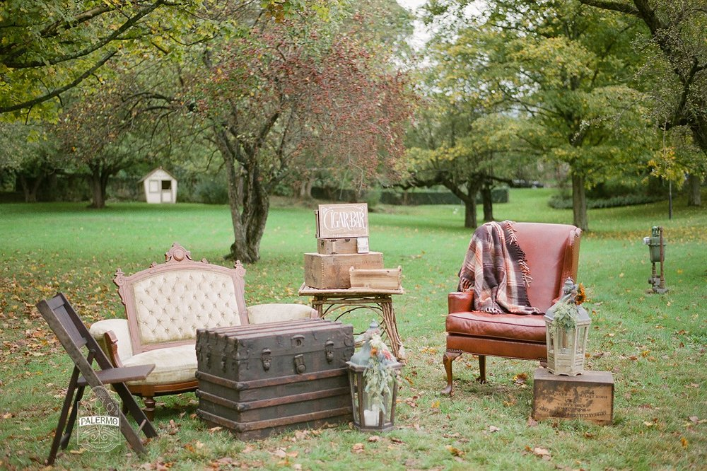 Vintage wedding reception outdoor cigar bar for fall barn wedding in Pittsburgh, PA planned by Exhale Events. Find more wedding inspiration at exhale-events.com!